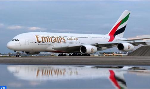 شركة (طيران الامارات) تشرع في تشغيل طائرة من طراز (إرباص أ 380 ) في أول رحلة لها بين دبي و الدار البيضاء