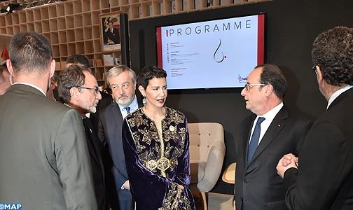 صاحبة السمو الملكي الأميرة للامريم والرئيس الفرنسي يدشنان جناح المغرب بمعرض الكتاب بباريس والذي يحتفي هذه السنة بالأدب المغربي