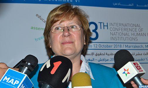 المجلس الوطني لحقوق الإنسان فاعل مهم بالمغرب ولاسيما في مجال ترسيخ والتربية على قيم حقوق الانسان (رئيسة التحالف العالمي للمؤسسات الوطنية لحقوق الانسان)