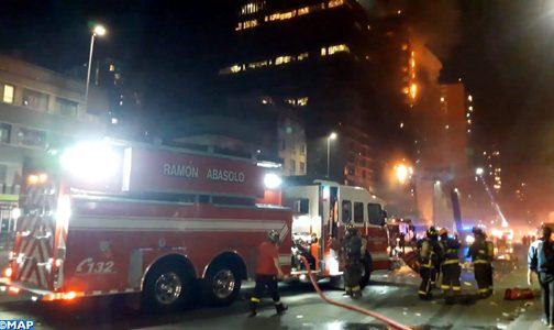 المظاهرات العنيفة بالشيلي .. مصرع ثلاثة أشخاص في حريق اندلع بسوق ممتازة بالعاصمة