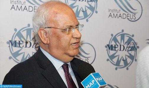 صائب عريقات ينفي سحب مشروع القرار المقدم من المجموعة العربية وحركة عدم الانحياز لمجلس الأمن