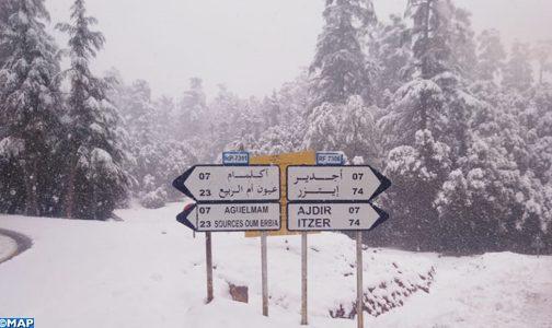 تساقطات مطرية وثلجية هامة تنعش آمال الفلاحين بإقليم خنيفرة