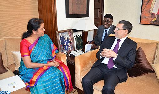 Le renforcement des liens commerciaux entre le Maroc et l'Inde au centre de discussions entre M. El Othmani et la ministre d'Etat indienne chargée du Commerce