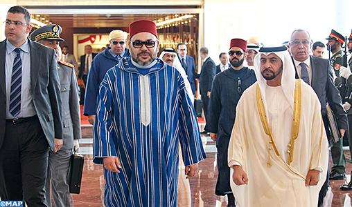 Arrivée de SM le Roi à Abou Dhabi pour une visite d'amitié et de travail aux Émirats Arabes Unis
