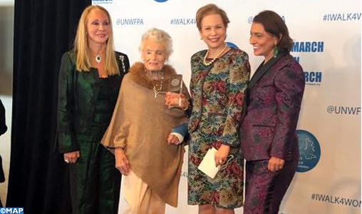 Nations-Unies : Lalla Joumala Alaoui remet à Mme Eve Branson le Prix de l'Association des Femmes des Nations-Unies pour la paix 2018