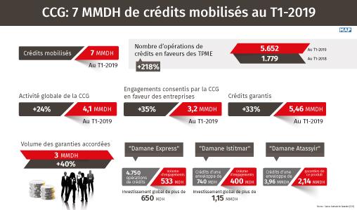 CCG: 7 MMDH de crédits mobilisés au T1-2019