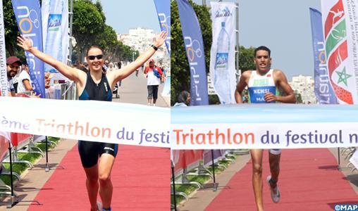 Festival nautique international de Rabat : Mohamed Nemsi et Sofie Lambert remportent l'épreuve du triathlon