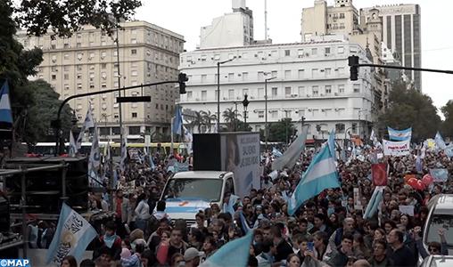Manifestation anti-avortement aux abords du Congrès fédéral à Buenos Aires