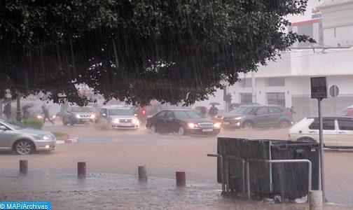 Fortes pluies parfois orageuses de lundi soir à mardi à midi dans plusieurs régions du Royaume (Bulletin spécial)