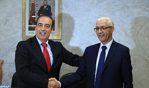 Passation des pouvoirs entre MM. Rachid Talbi Alami et Mohamed Laâraj et leur successeur El Hassan Abyaba