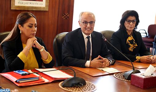 Passation des pouvoirs entre Mme Nezha Bouchareb et M. Abdelahad Fassi Fehri