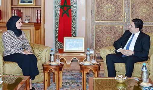 M. Bourita s'entretient à Rabat avec la présidente du Conseil des représentants du Bahreïn