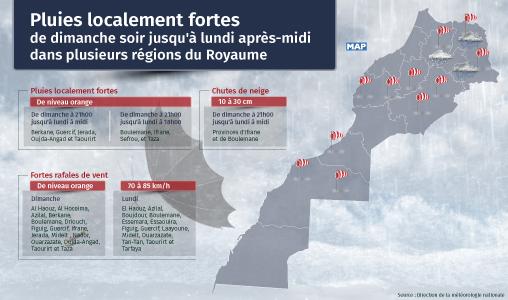 Pluies localement fortes jusqu'à lundi après-midi dans plusieurs régions du Royaume (Bulletin spécial)