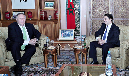 M. Nasser Bourita s'entretient avec le Secrétaire d'État américain, M. Michael Pompeo