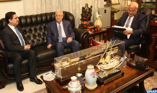 Le Président palestinien reçoit à Amman M. Bourita qui lui a transmis un message verbal de SM le Roi