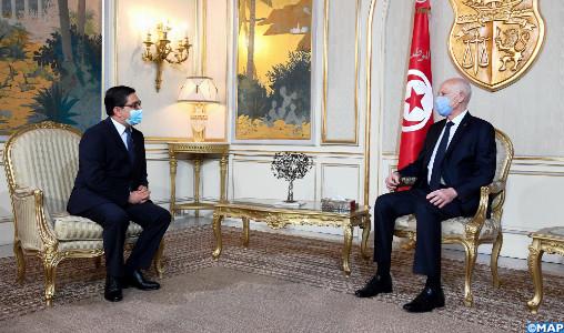 M. Bourita, porteur d'un message de SM le Roi, reçu à Tunis par le Président Kaïs Saïed