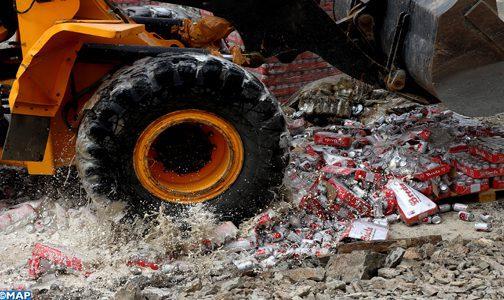 Marrakech : Destruction de plus de 62.000 bouteilles de boissons alcoolisées