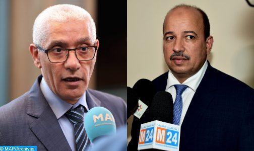 Rachid Talbi Alami et Naam Miyara, candidats respectivement à la présidence des Chambres des représentants et des conseillers (communiqué)